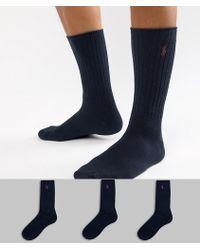 Polo Ralph Lauren - Cotton Rib 3 Pack Socks In Navy - Lyst
