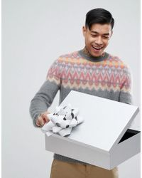 ASOS - Fairisle Mohair Wool Blend Jumper In Grey - Lyst