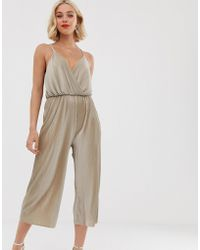 Love Strappy Cross Over Culotte Jumpsuirt - Gray
