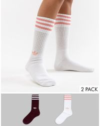 adidas Originals - Crew Sock Pack In White And Maroon - Lyst