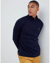 Polo Ralph Lauren - Half Zip Cotton Knit Jumper With Multi Player Logo In Navy - Lyst