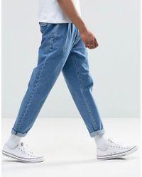 ASOS - Design Double Pleat Straight Leg Jean In Light Blue - Lyst