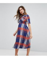 ASOS | Twist Front Skater Dress In Check | Lyst