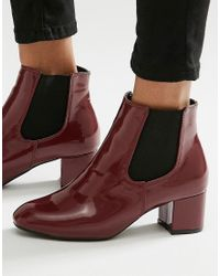 Daisy Street - Burgundy Patent Chelsea Boots - Lyst