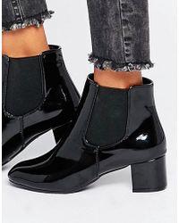 Daisy Street - Black Patent Chelsea Boots - Lyst