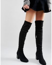 Daisy Street - Stud Heeled Over The Knee Boots - Lyst