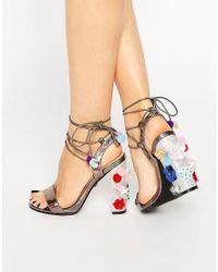 Daisy Street - Pom Pom Tie Up Heeled Sandals - Lyst