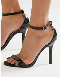 Glamorous - Black Patent Two Part Heeled Sandals - Lyst