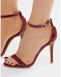 Glamorous - Burgundy Patent Two Part Heeled Sandals - Lyst