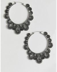 ASOS DESIGN - Hoop Earrings In Cut Out Filigree Design In Silver - Lyst