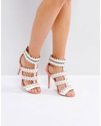 32a85f4820f Forever Unique - Zig Zag Weaved Strap Heeled Sandal - Lyst