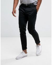 Pull&Bear - Skinny Chinos With Belt In Black - Lyst
