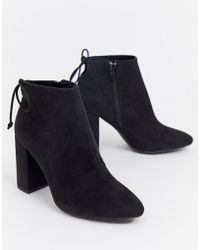 Pull&Bear - Faux Suede Heeled Boot In Black - Lyst