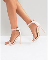 218cf5c924e Truffle Collection - Round Buckle Skinny Heeled Sandals - Lyst