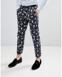 Jack & Jones - Premium Slim Suit Trouser With All Over Print - Lyst