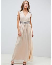 AX Paris - Cream Maxi Dress With Embellished Detail - Lyst