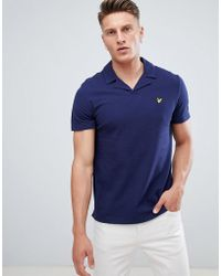 Lyle & Scott - Revere Collar Logo Polo Shirt In Navy - Lyst