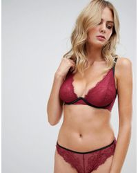 Wolf & Whistle - High Apex Exposed Wire Lace Bra In Burgundy - Lyst