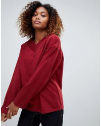 Weekday - V-neck Sweatshirt In Dark Red - Lyst