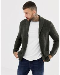 ASOS - Ribbed Shawl Cardigan In Charcoal - Lyst