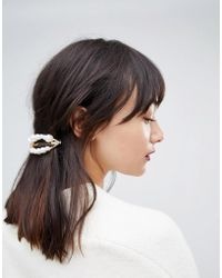 ASOS DESIGN - Barette Hair Clip With Faux Freshwater Pearls In Gold - Lyst