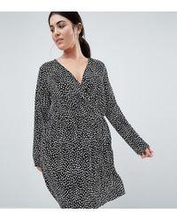 ASOS - Asos Design Curve Plisse Wrap Dress In Blurred Spot Print - Lyst