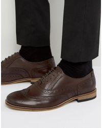 Dune - Braker Brogues In Brown Leather - Lyst