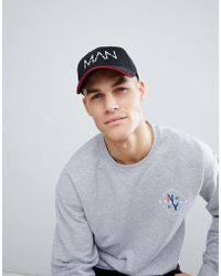 Boohoo - Cap With Man Print In Black - Lyst