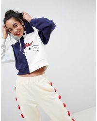 ASOS - Hello Kitty X Cropped Colour Block Hoodie - Lyst