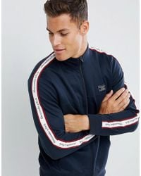 Abercrombie & Fitch - Logo Side Tape Tricot Track Jacket In Navy - Lyst