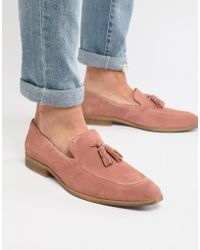 595f02e49ff ASOS - Loafers In Pink Suede With Natural Sole - Lyst
