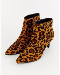 Lost Ink - Jolie Leopard Print Kitten Heel Boots - Lyst