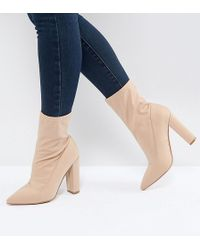 ASOS | Basically Wide Fit Pointed Sock Boots | Lyst
