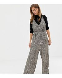 770c69bc36 ASOS - Asos Design Petite Strappy Wrap Front Jumpsuit In Leopard Animal  Print - Lyst
