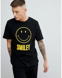 Pull&Bear - Smiley Face Slogan Crew Neck T-shirt In Black - Lyst