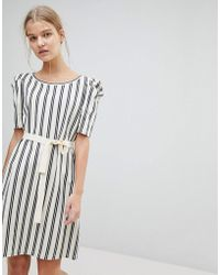 MAX&Co. - Max&co Striped Shift Dress With Tie Waist - Lyst