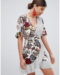 Missguided - Floral & Polka Dot Wrap Tea Dress - Lyst