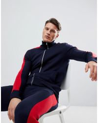 Boohoo - Color Block Tracksuit In Navy - Lyst