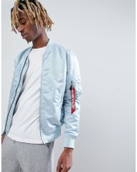 Alpha Industries - Ma1-tt Vf Lightweight Reversible Bomber Jacket In Blue/silver With Blood Chit Patch - Lyst