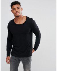 0e24de72280e ASOS Skater Long Sleeve T-shirt With Side Zip Mesh Panel in Black for Men -  Lyst