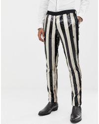 ASOS - Skinny Tuxedo Suit Trousers In Black And Cream Sequin Stripe - Lyst