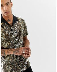 1d9b22ab1dc9 ASOS - O'keefe Party Regular Fit Leopard Print Sequin Shirt With Revere  Collar -