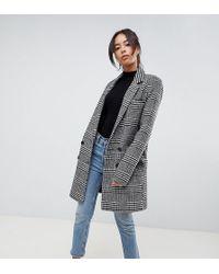 ASOS - Asos Design Tall Slim Coat In Check - Lyst