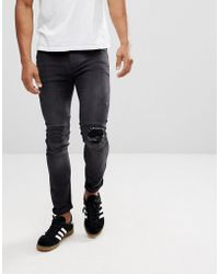 Religion - Biker Jeans With Rip Repair Knee Detail In Skinny Fit With Stretch - Lyst