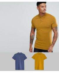 ASOS - Design Muscle Fit Jersey Polo 2 Pack Save - Lyst