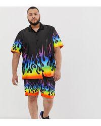enorme sconto 4356d f1a4c Camicia stile festival nera con fiamme arcobaleno in coordinato - Nero
