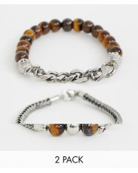 ASOS - Beaded Bracelet 2 Pack With Semi Precious Stones And Chain - Lyst