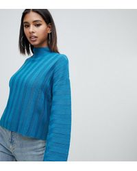 Missguided - High Neck Wide Sleeve Jumper In Blue - Lyst