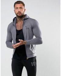 11 Degrees - Track Zip Up Hoodie In Grey - Lyst
