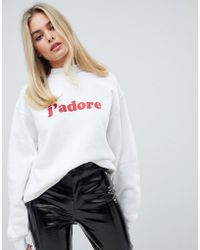 Boohoo - J' Adore Sweat In White - Lyst